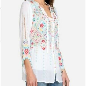 """Johnny Was """"Arges"""" Georgette Blouse M"""